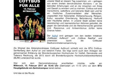 Auch die BTU Cottbus-Senftenberg bekennt wieder Farbe