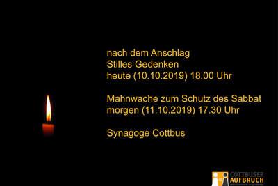 Stilles Gedenken und Mahnwache an der Cottbuser Synagoge! Heute und Morgen!